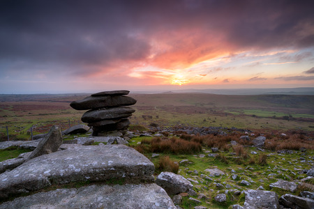 bodmin: The Cheesewring on Bodmin Moor in Cornwall Stock Photo