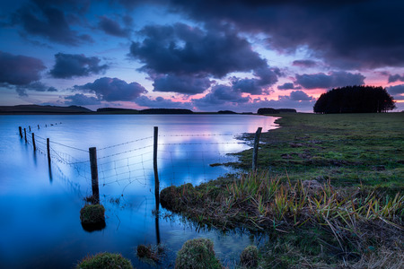 bodmin: Sunset over the Crowdy Reservoir near Davidstow on Bodmin Moor in Cornwall
