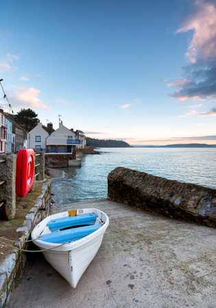 slipway: Boat on the slipway at Kingsand on the south coast of Cornwall