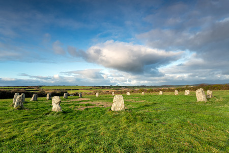 neolithic: The Merry Maidens a neolithic stone circle neat St Buryan in the far west of Cornwall - also known as the Dawn