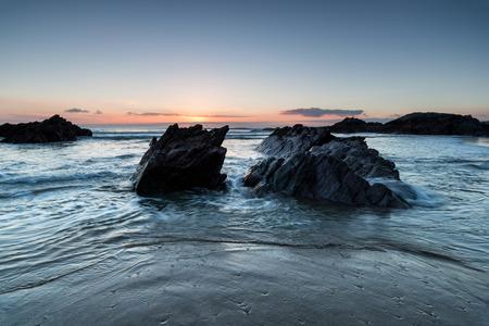 south coast: Sunset at Sharrow beach on the south coast of Cornwall
