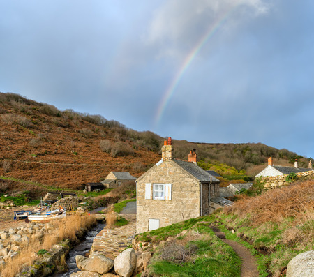 Cottages at Penberth Cove in near Lands End in Cornwall