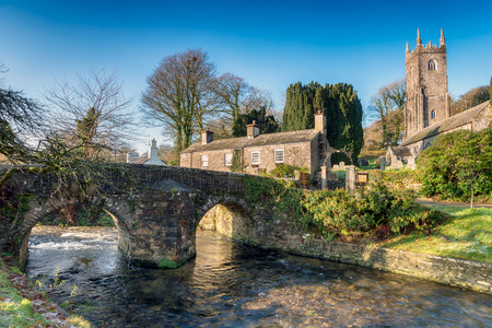 bodmin: The River Inny as it flows through the small village of ALtarnun on Bodmin Moor in Cornwall