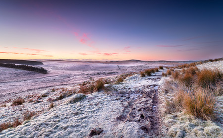 bodmin: Beautiful winter sunrise over Bodmin Moor in Cornwall