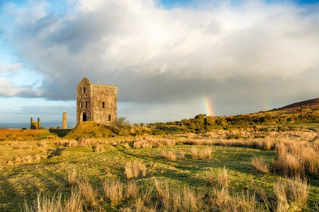 bodmin: An old Cornish engine house left over from the days of copper mining at the Minions on Bodmin Moor in Cornwall