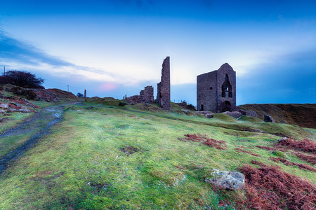 bodmin: Old abandoned copper mine workings and engine houses at Caradon hill on Bodmin Moor in Cornwall
