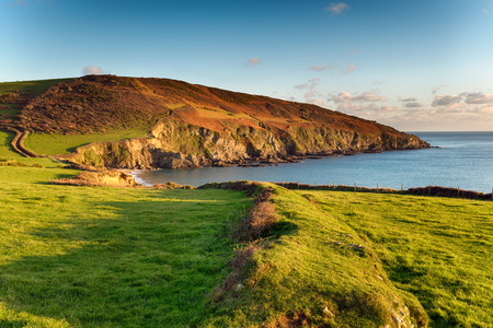 south west coast path: The south west coast path as it passes Hemmick Beach from Gorran Haven