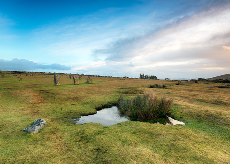 bodmin: The Hurlers stone circle at Minions on Bodmin Moor in Cornwall