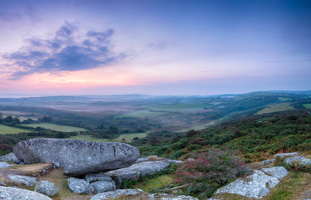 bodmin: Rugged moorland countryside at Helman Tor near Bodmin in Cornwall Stock Photo