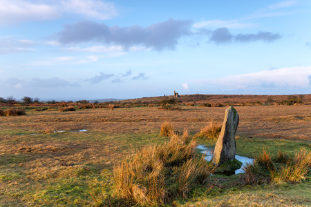 bodmin: A standing stone at Minions on Bodmin Moor in Cornwall Stock Photo