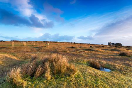 steencirkel: De Hurlers Stone Circle op Minions op Bodmin Moor in Cornwall Stockfoto