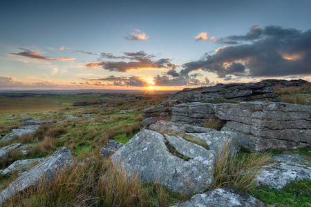 bodmin: Sunset from Alex Tor on Bodmin Moor in Cornwall Stock Photo