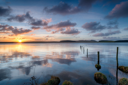 bodmin: A beautiful sunrise over Crowdy Reservoir a large lake on Bodmin Moor near Davidstow in Cornwall