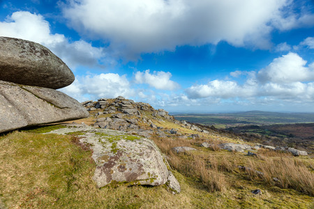 bodmin: Granite rock formations on Bearah Tor near Minions on Bodmin Moor in Cornwall Stock Photo