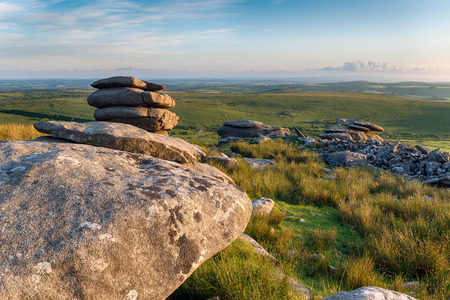 bodmin: The Cheesewring a weathered granite rock formation on Bodmin Moor in Cornwall