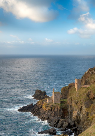steep cliffs: The Crowns, ruins of old tin mines perched on steep cliffs at Bottallack in the far west of Cornwall