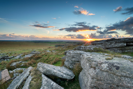 bodmin: Sunset over Alex Tor in the heart of Bodmin Moor in Cornwall