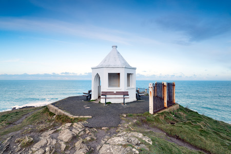pavillion: A white hexagonal pavillion on the Towan Headland at Newquay in Cornwall
