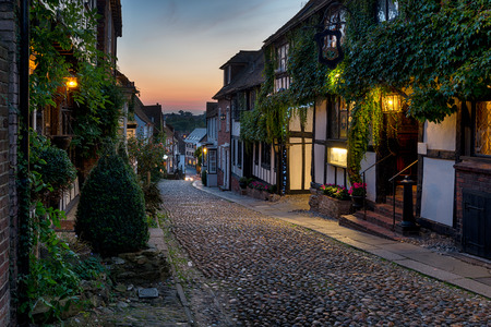 cobbled: Nighttime on the cobbles at Mermaid Street in East Sussex