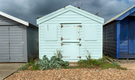 beach huts: Colourful beach huts at St Leonards on Sea in Hastings, East Sussex