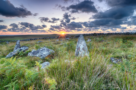neolithic: The ruins of ancient neolithic hut circles and field systems on top of Garrow Tor on Bodmin Moor in Cornwall
