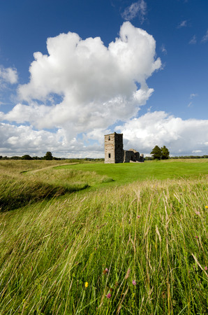 neolithic: The ruins of a Norman Church in the center of Knowlton Rings an ancient Neolithic henge system near Wimborne in Dorset also known as Knowlton Circles Stock Photo