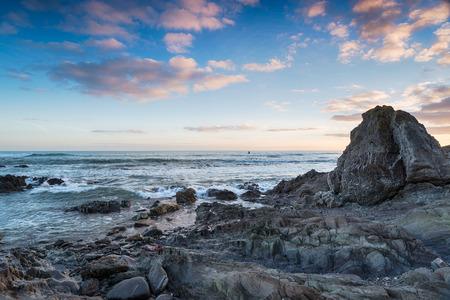 rugged: Rugged coastline at Portwrinkle in Cornwall Stock Photo