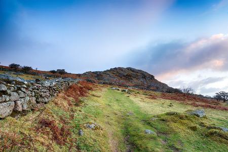 bodmin: Moorland track leading to Sharp Tor near Henwood on Bodmin Moor in Cornwall