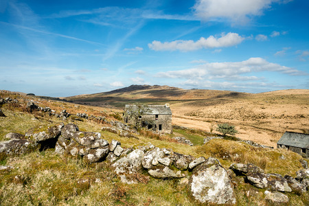 willy: An old farmhouse on the slopes of Brown Willy on a remote part of Bodmin Moor in Cornwall Stock Photo