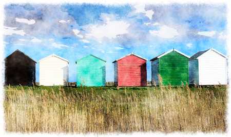 beach huts: Colorful Beach huts at Calshot on the Solent near Southampton in Hampshire Stock Photo