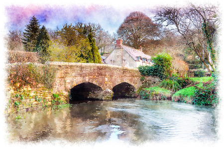 english village: A bridge over the river Lerryn at Couchs Mill near Lostwithiel in Cornwall
