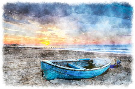 Turquesa barco de pesca azul en la salida del sol en la playa de Bournemouth Foto de archivo - 38602809