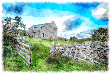 farmstead: Old abandoned cottage on Bodmin Moor in Cornwall