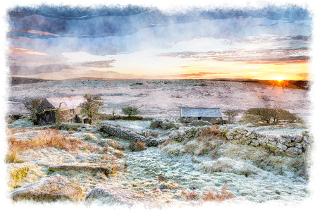 bodmin: A beautiful frosty winter sunrise over an old abandoned farm at Garrow Tor on Bodmin Moor in Cornwall
