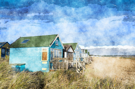 hengistbury: Colourful beach huts on Mudeford Spit at Hengsibury Head near Christchurch in Dorset