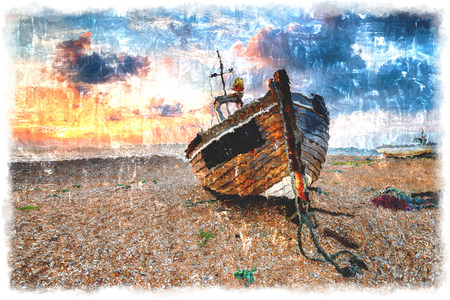 shingle: A beautiful sunrise over a wooden fihing boat on s shingle beach