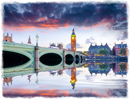 ben oil: Dusk at Westminster Bridge and Big Ben in London