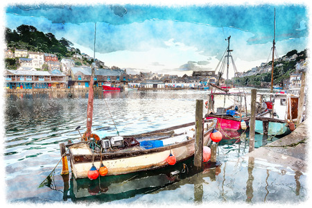fishing village: Fishing boats in the harbour at Looe on the south coast of cornwall Stock Photo