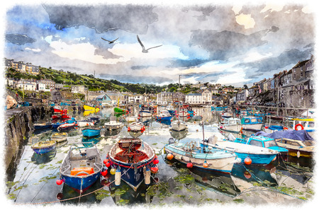 fishing village: Boats in the harbour at Mevagissey on the south coastof Cornwall near St Austell