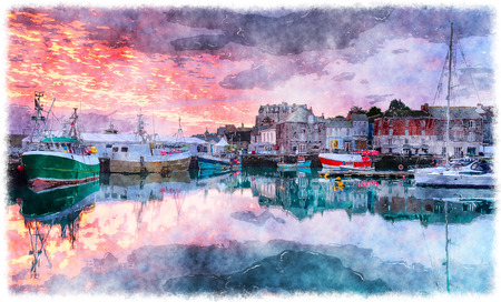 fishing village: Beautiful sunrise across Padstow harbour on the Cornwall coast