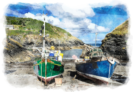 fishing village: Colourful fishing boats on the beach at Portlooe a small fishing village on the south coast of Cornwall