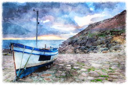 cobbled: Fishing boat on the beach at Penberth Cove near Penzance in Cornwall Stock Photo