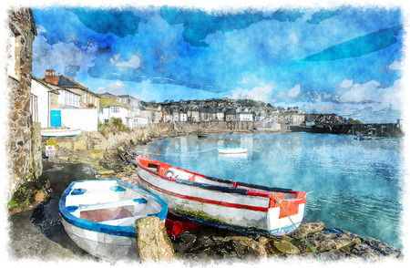 mousehole: The harbour at Mousehole in Cornwall, a traditional fishing village near Penzance.