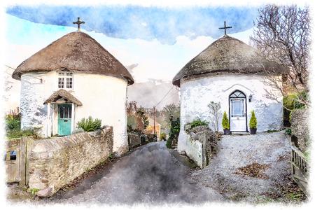 Belles maisons à toit de chaume rondes Veryan sur la péninsule de Roseland à Cornwall Banque d'images - 38603115