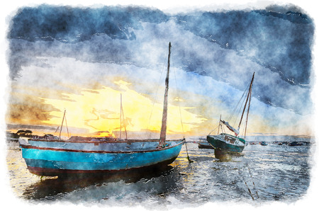 Boats at Sandbanks in Poole Harbour in Dorset