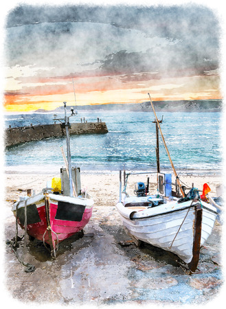 scenery: Fishing boats on the beach at Sennen Cove near Lands End in Cornwall Stock Photo