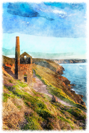 wheal: The ruins of Wheal Coates an ancient engine house for a tin mine on the Cornwall coast at St Agnes Stock Photo