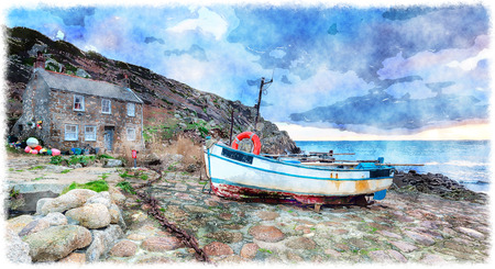 south west coast path: The South West Coast Path as it passes through fishing boats and cottages at Penberth Cove near Penzance in Cornwall