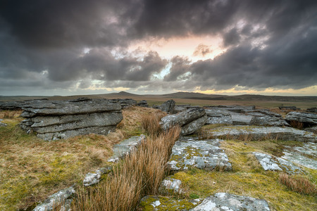 willy: A dramatic stormy sky over Bodmin Moor in Cornwall, looking out toward the hills of Roughtor and Brown Willy