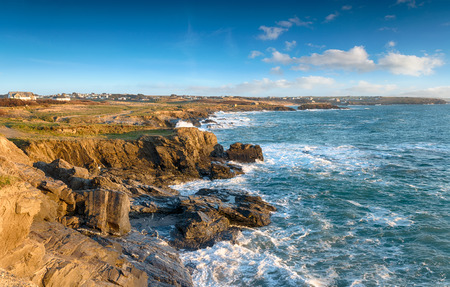 constantine: Looking out to Constantine Bay from Boobys Bay on the north Cornwall coast near Padstow Stock Photo